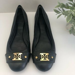 Tory Burch Ballet Flats Leather Black Size 10